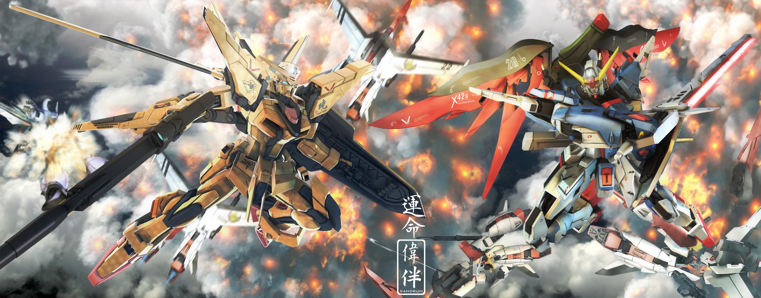 dual screens akatsuki gundam destiny desktop 2445x960 hd wallpaper 2445x960