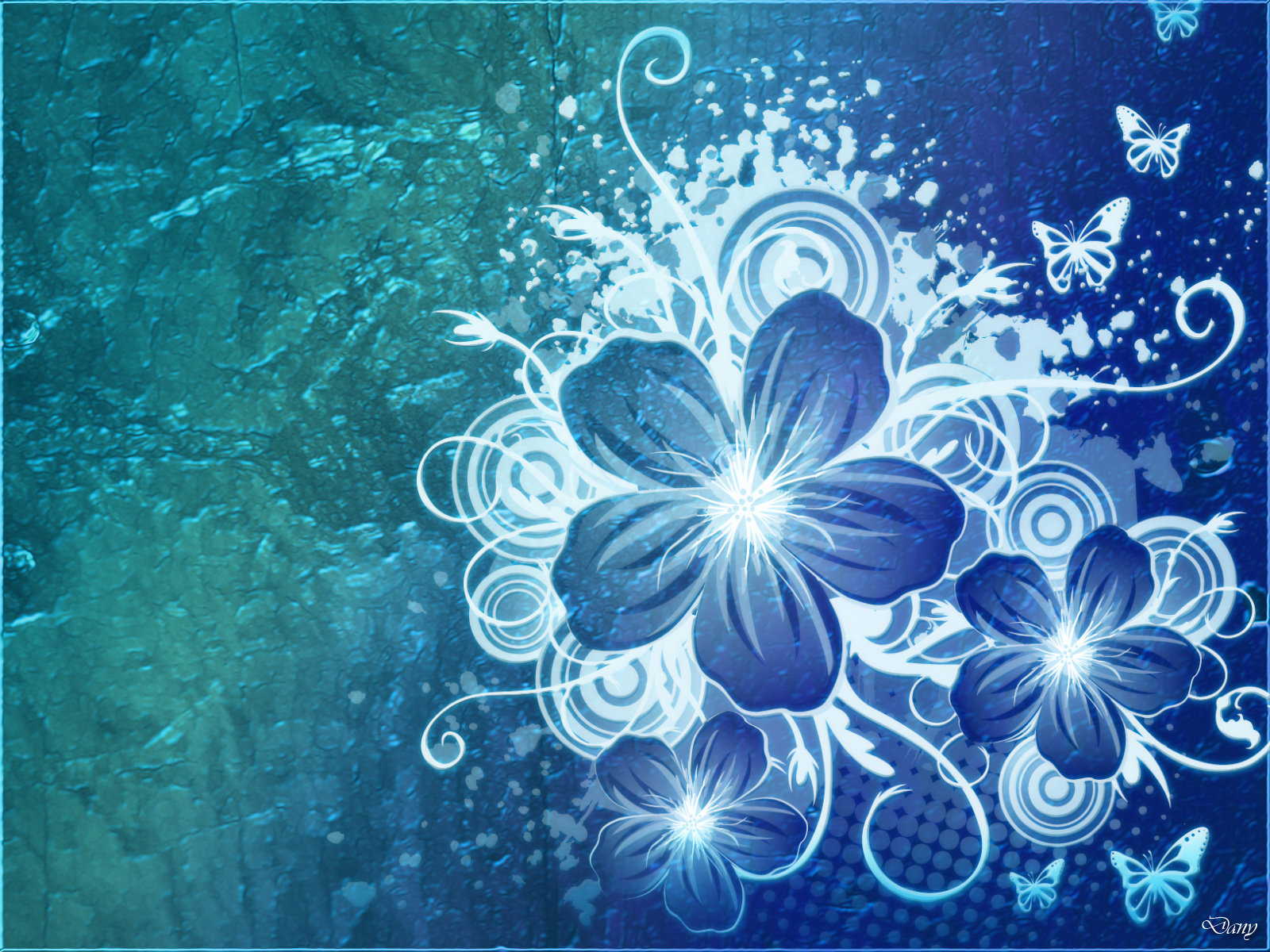 Free Download Blue Flowers Desktop Wallpaper 1600x1200 For Your