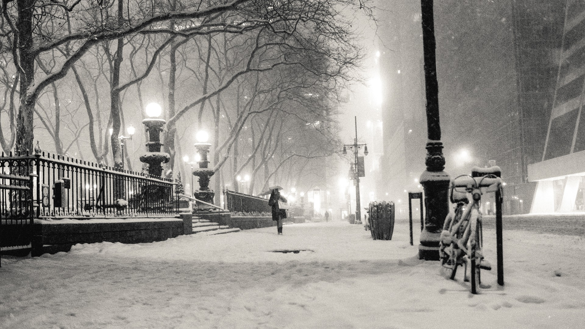 Wallpapers black and white winter snow New York City monochrome 1920x1080