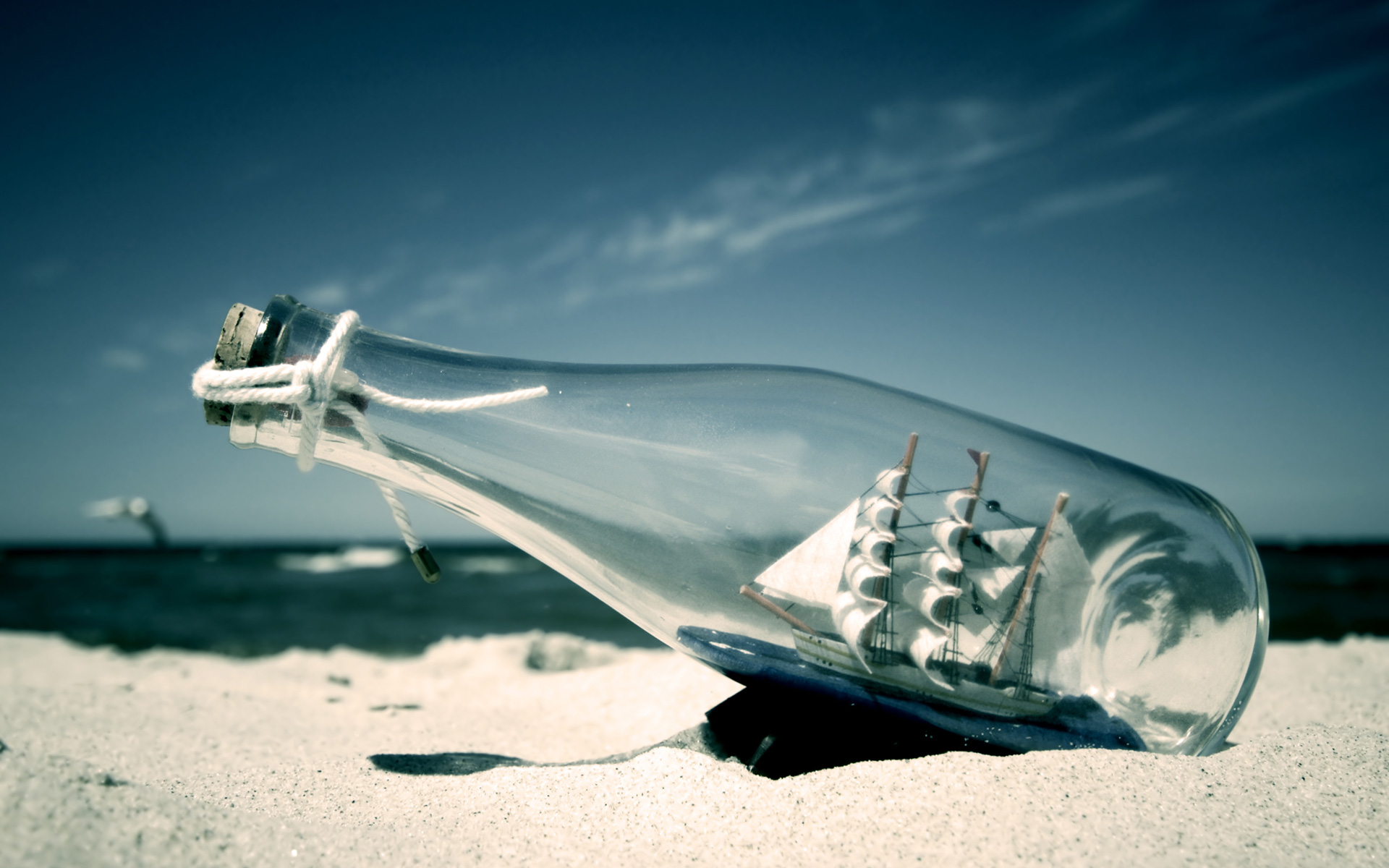 Beach Ship Desktop Wallpapers Bottled Beach Ship Desktop Backgrounds 1920x1200