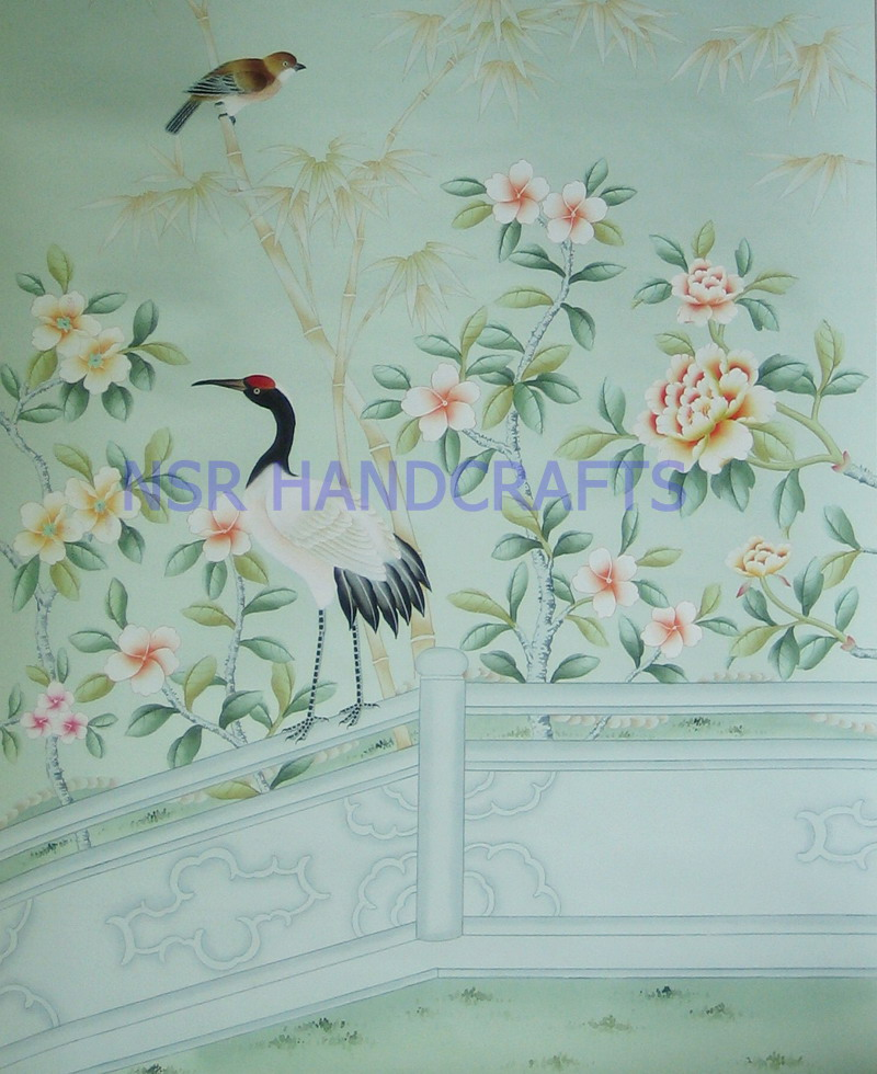 Free Download Silk Wallpaper Hand Painted Wallpaper Chinoiserie