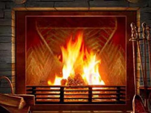 3D Fireplace Desktop Wallpaper 500x375