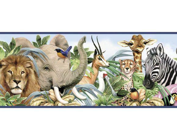 Jungle Animals Pre Pasted Wallpaper Border   httpwwwtheboysdepot 580x460