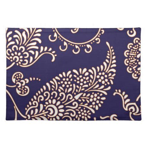 Navy cobalt blue paisley print chic girly floral vintage henna 512x512