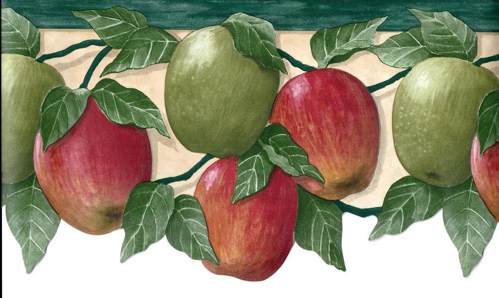 Country Apples on Vine Scalloped Wallpaper Border eBay 1000x597