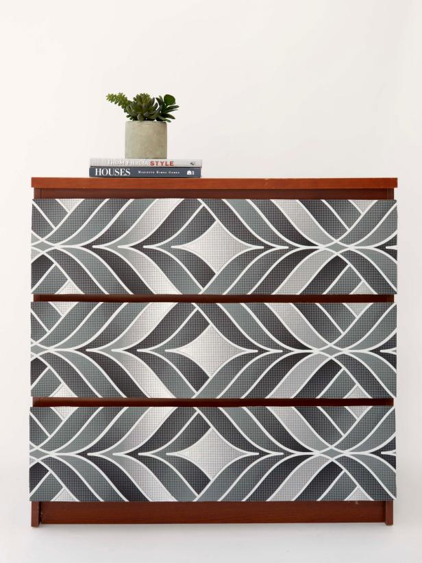 Use Wallpaper to Amp Up a Tired Dresser HGTV 616x822