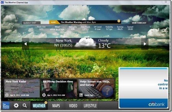 Weather Channel Desktop 554x363