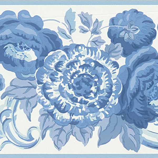 451 1689 Blue Toile Floral Scroll   Brewster Wallpaper Borders 600x600