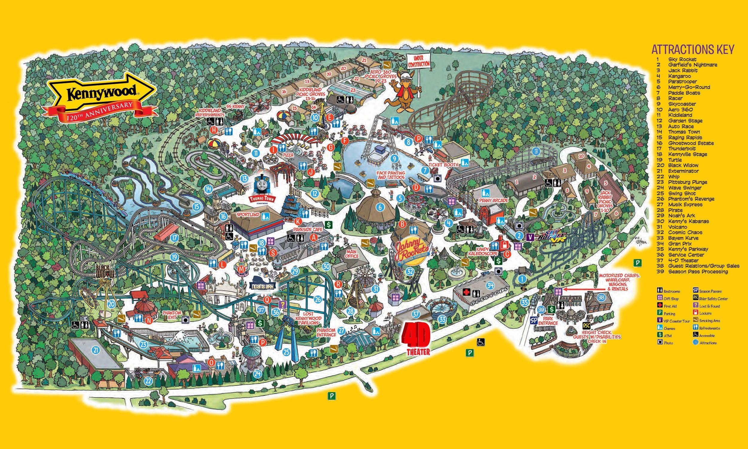 Park Map Kennywood Amusement Park With images Theme park map 2500x1500