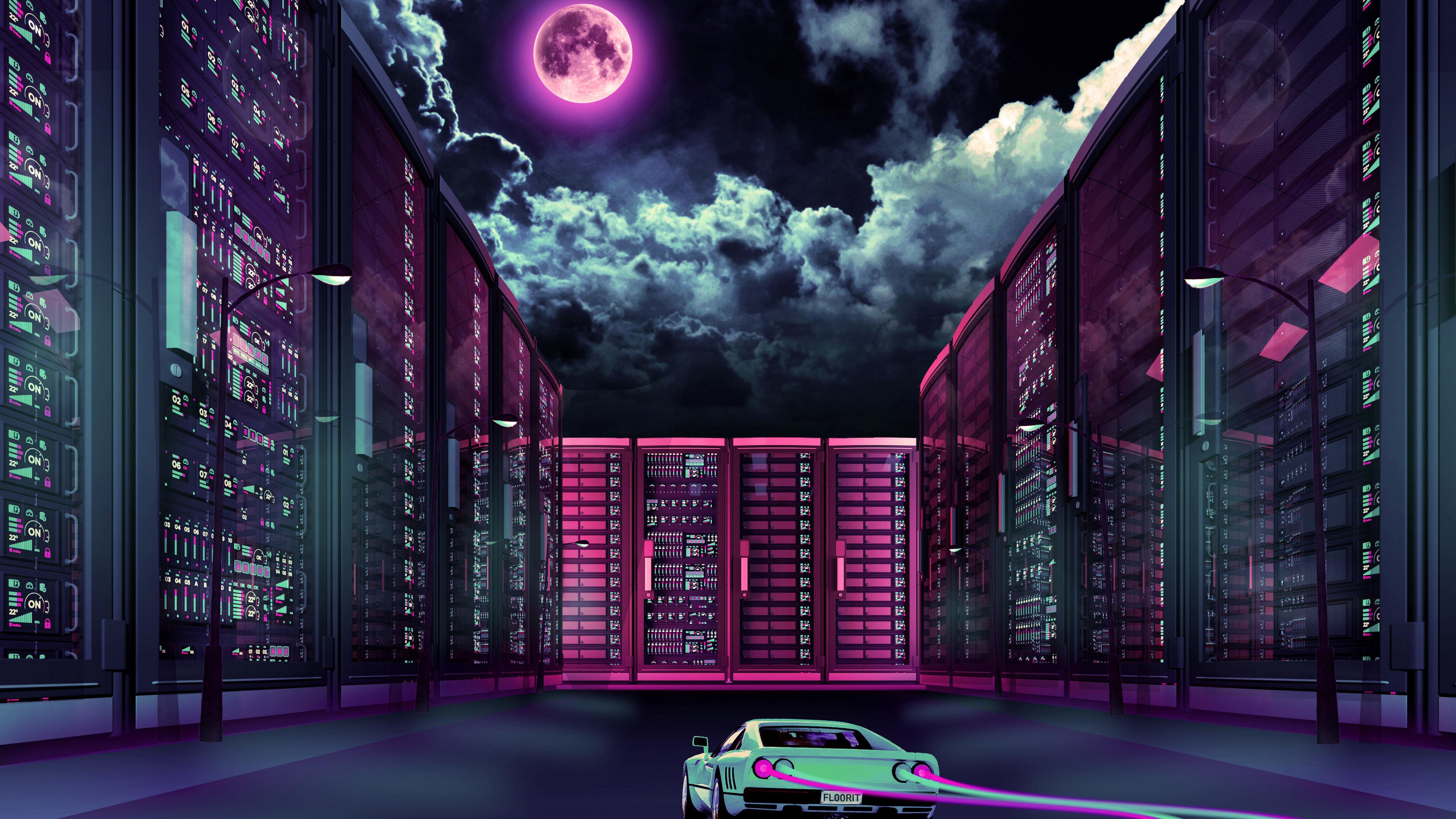 Wallpaper 4k Retrowave Car Going Through City Moon 4k wallpapers 3840x2160