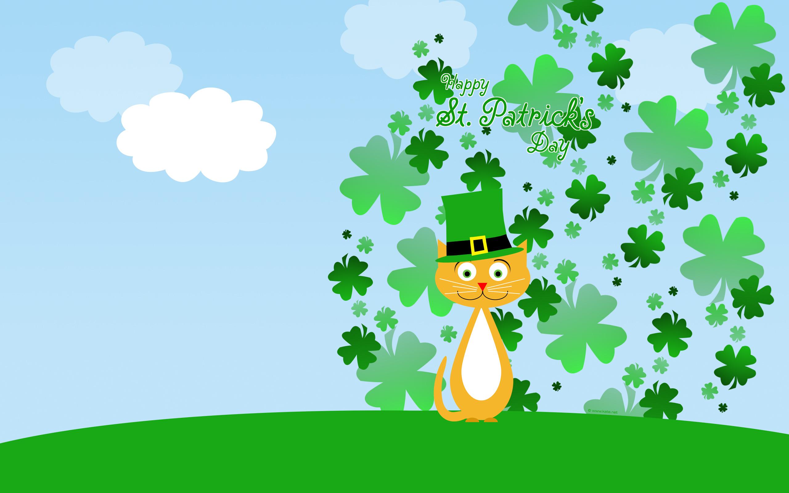 ... st patrick s day cat in shamrocks wallpaper kate net created 2 24 09