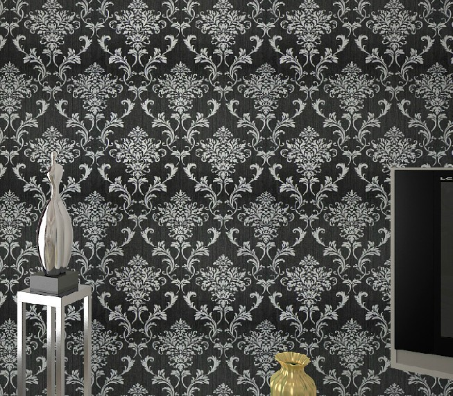 blacksilver damask wallpaper background wall bedroom wallpaper 653x572