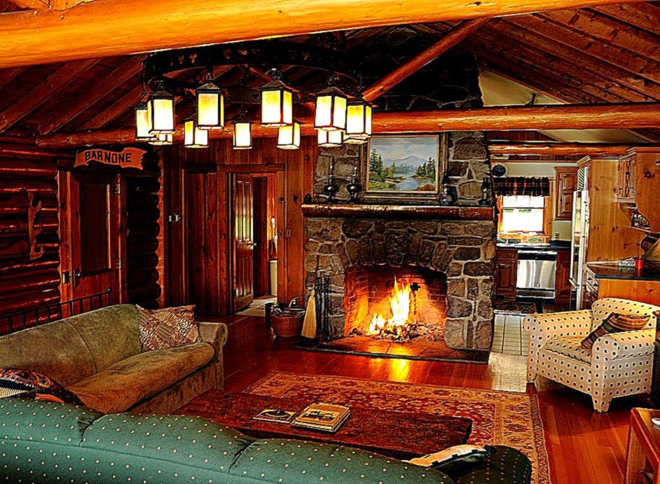 Cozy Log Cabin Winter Wallpaper 942x691