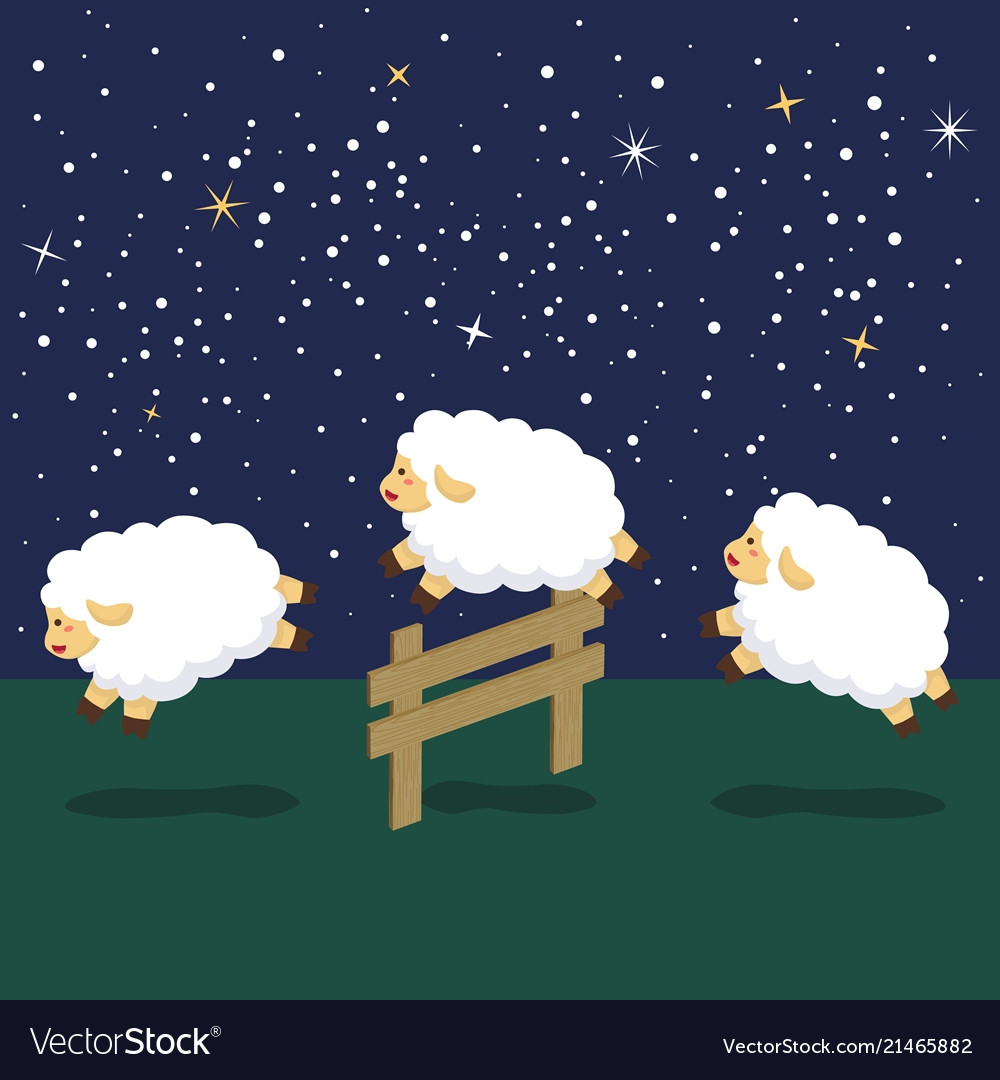 Counting sheep in night background Royalty Vector Image 1000x1080