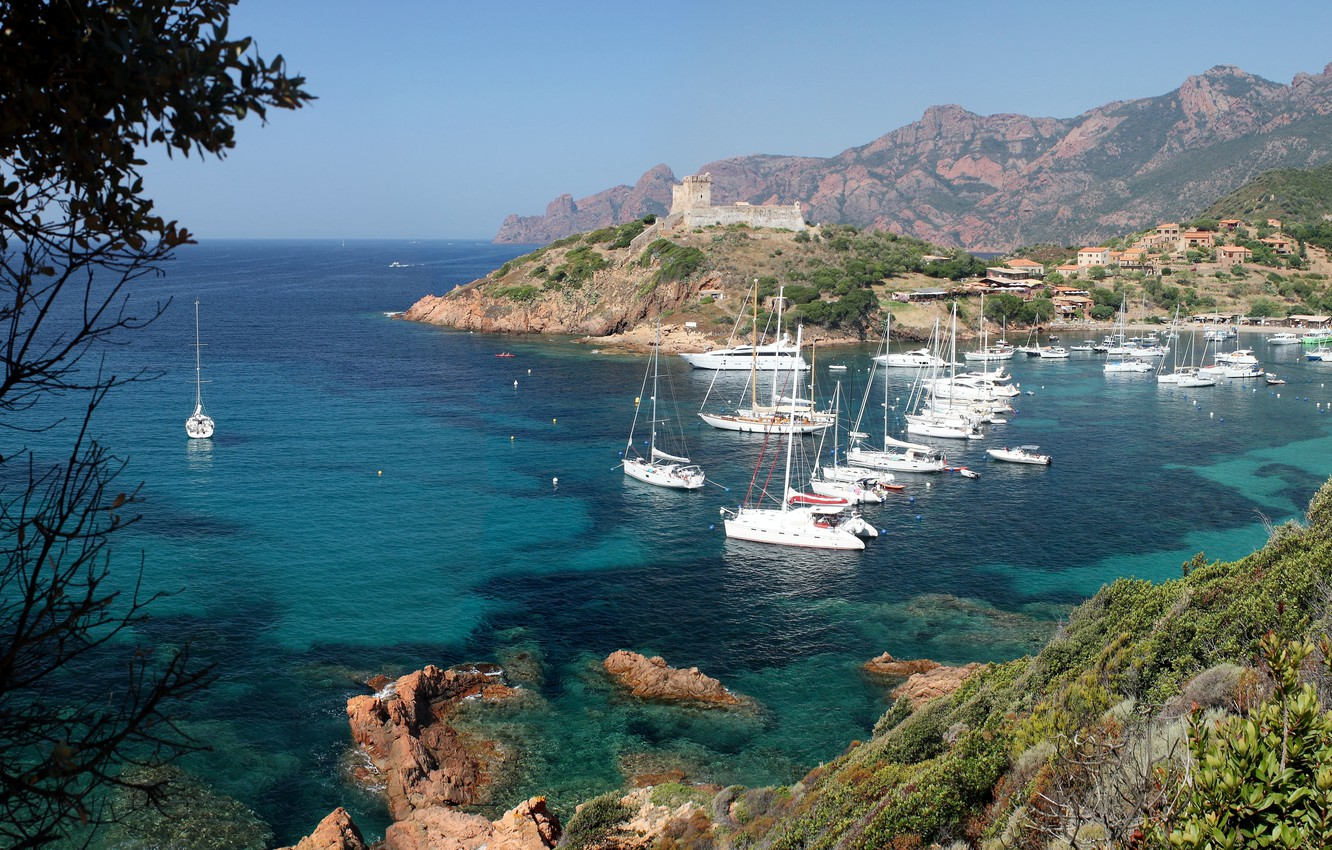 Wallpaper sea Bay yachts Corsica images for desktop section 1332x850