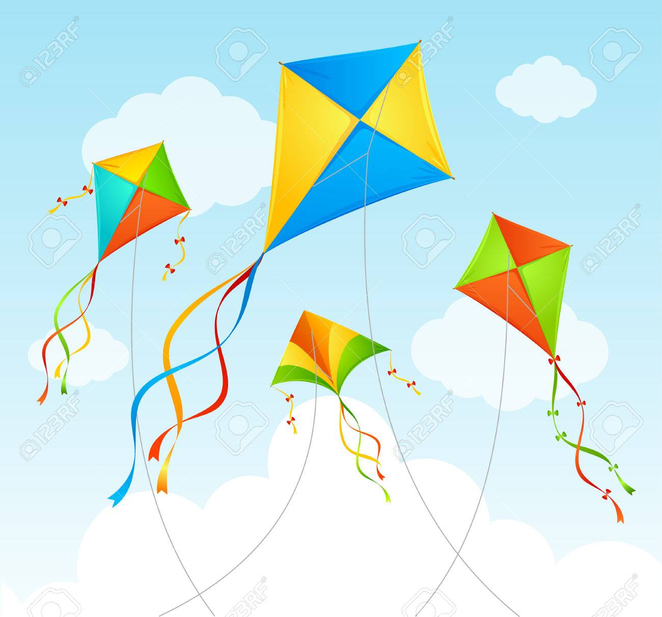Fly Kite And Clouds On A Blue Sky Summer Background Vector 1300x1212