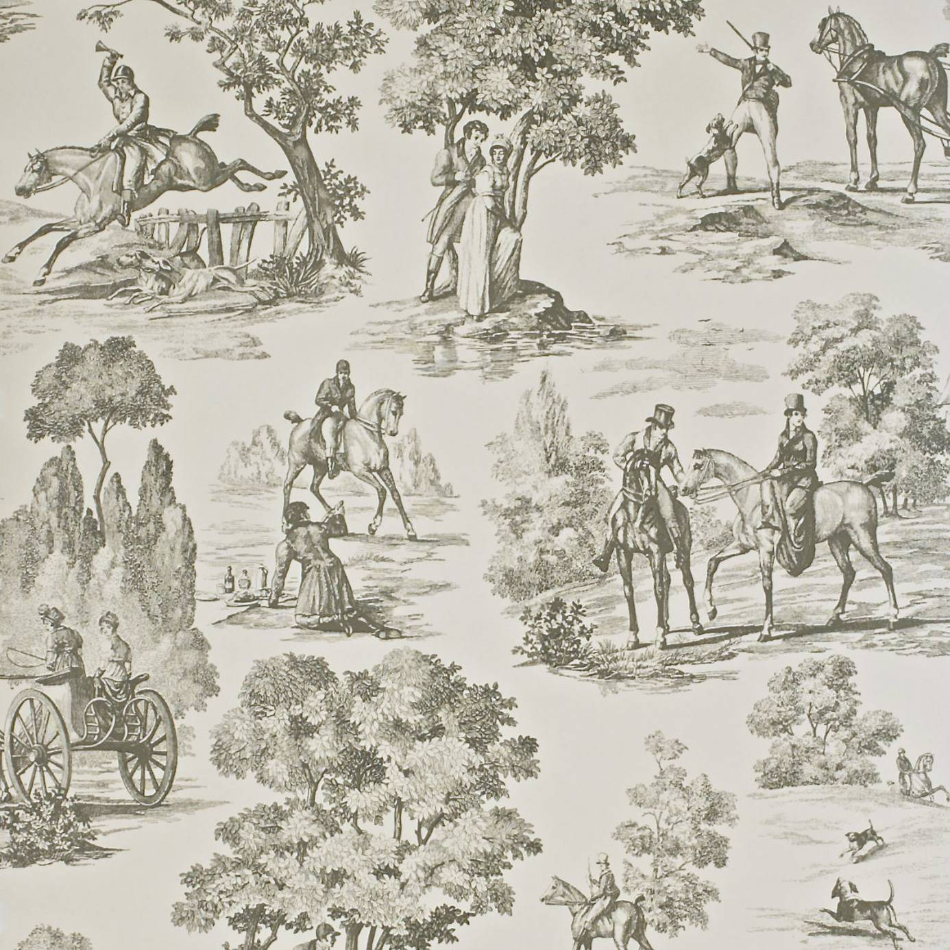 Home Wallpapers Sanderson Toile Wallpapers Fox Hunting Wallpaper Sand 1386x1386