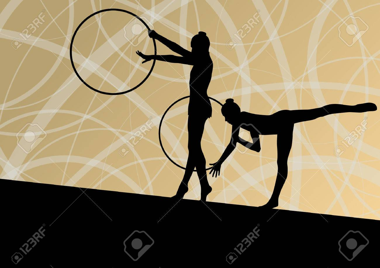 Active Young Girls Calisthenics Sport Gymnasts Silhouettes In 1300x918