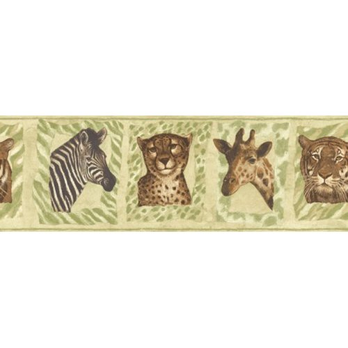 Jungle Animals Zebra Tiger Cheetah Print Giraffe Wallpaper Border 500x500