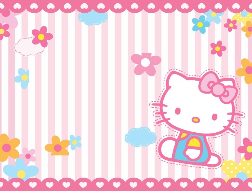 Pink Hello Kitty Stripe Background Vector   TitanUI 835x635