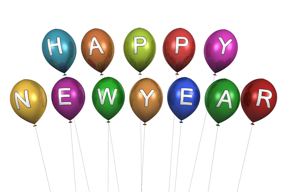 Happy New Year Balloons transparent PNG   StickPNG 960x647