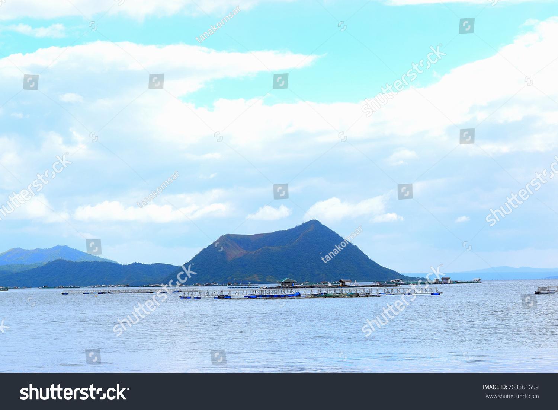 Aquaculture Farm Lake Volcano Background Philippines Stock Photo 1500x1101
