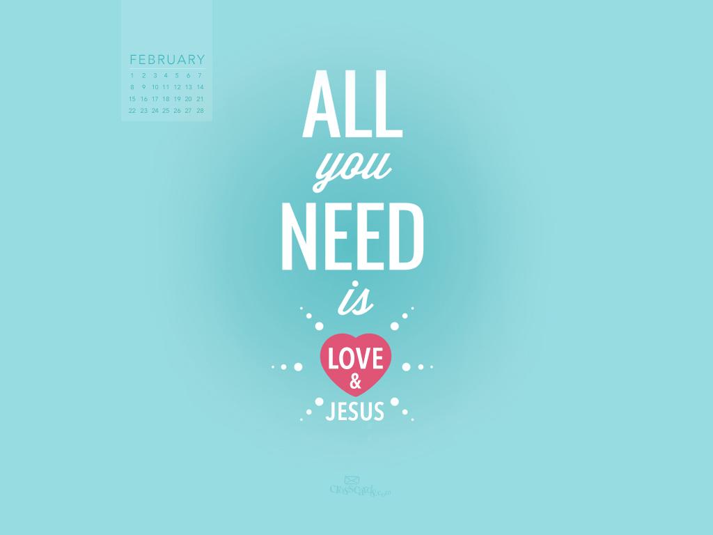February 2015   Love and Jesus Desktop Calendar  Monthly 1024x768