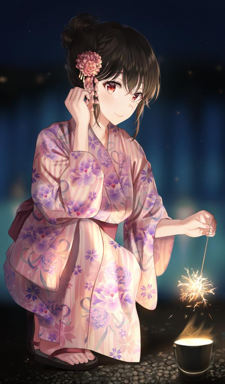 Wallpaper Pretty Anime Girl Yukata Festival Sparkle 650x1112
