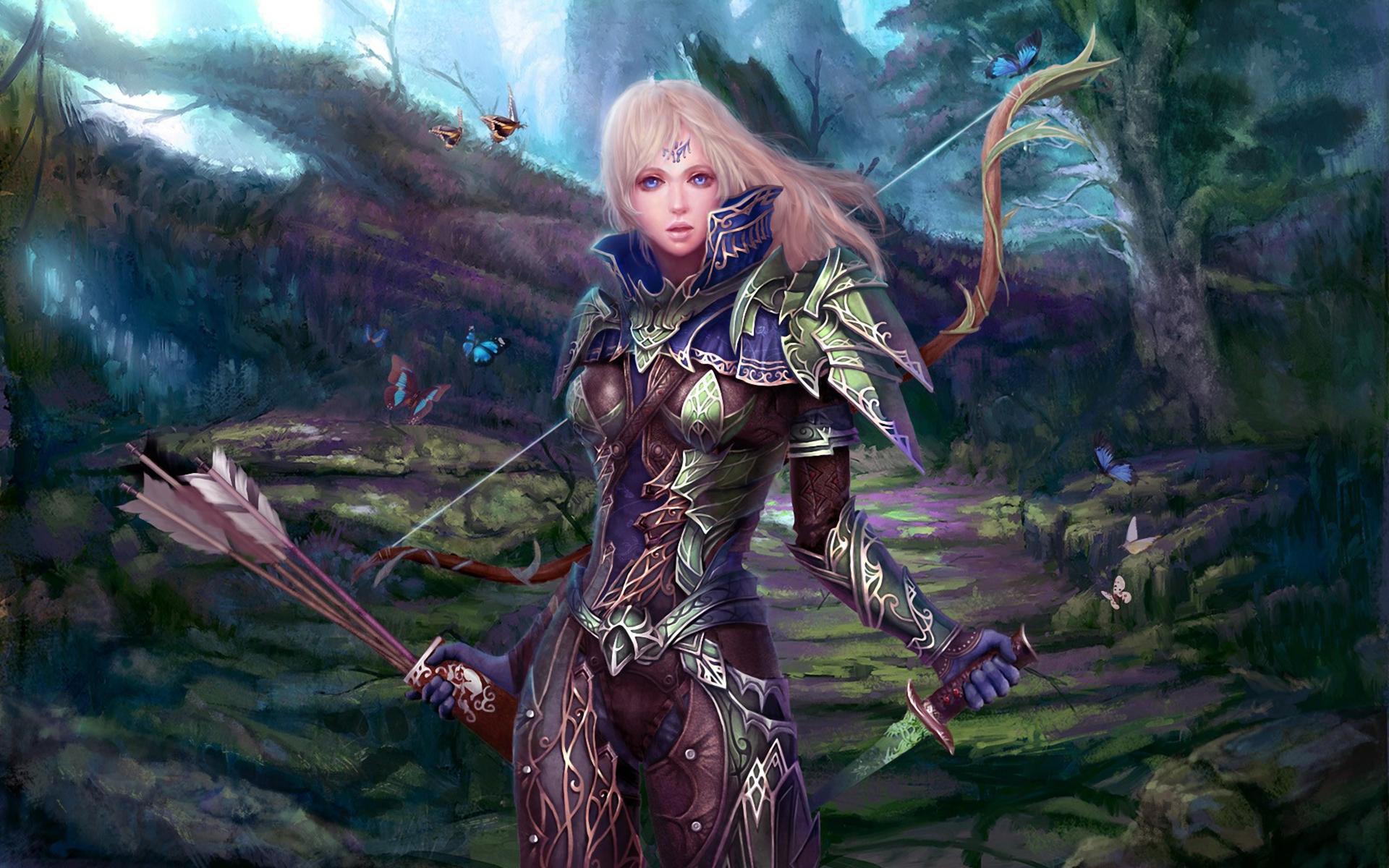 Fantasy Female Archer Warrior Hd Wallpaper Wallpaper List 1920x1200
