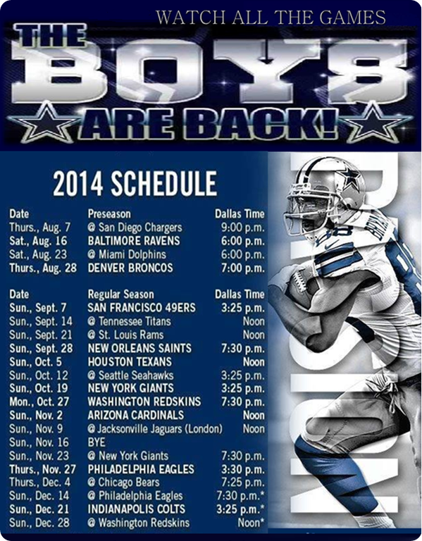 2015 Dallas Cowboys Schedule   Dallas Cowboys 2014 schedule   Dallas 599x768