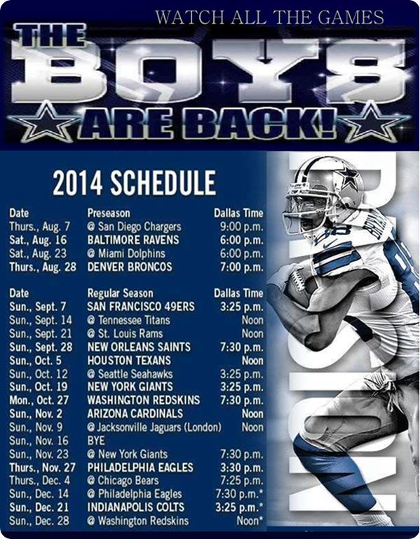 2015 Dallas Cowboys Schedule   Dallas Cowboys 2014 schedule   Dallas 599x768