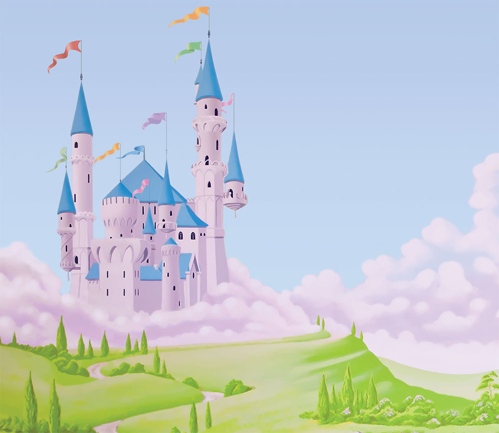 Princess Castle with Unicorn Wallpaper Mural Style 2 [Style 2 1000x868