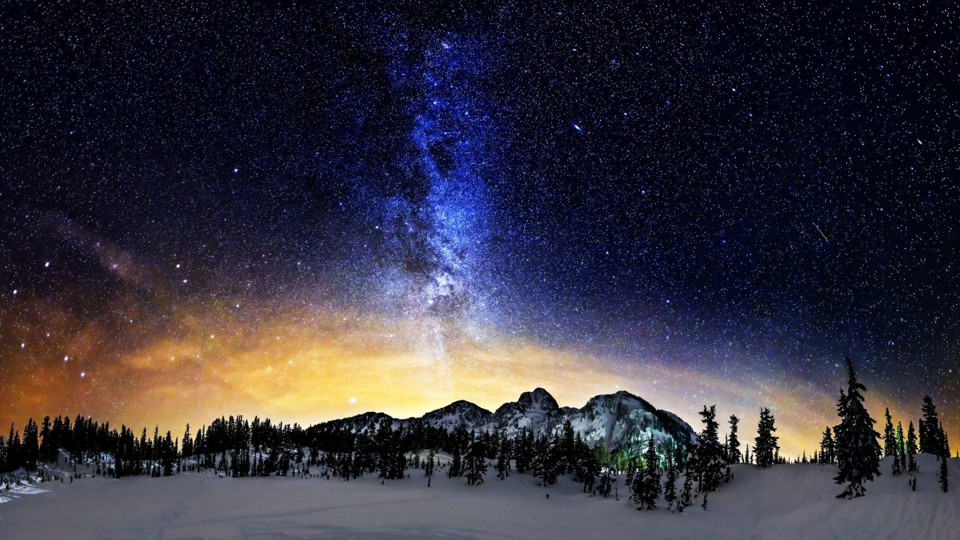 Milky Way above the snowy mountains wallpaper 14966 1920x1080