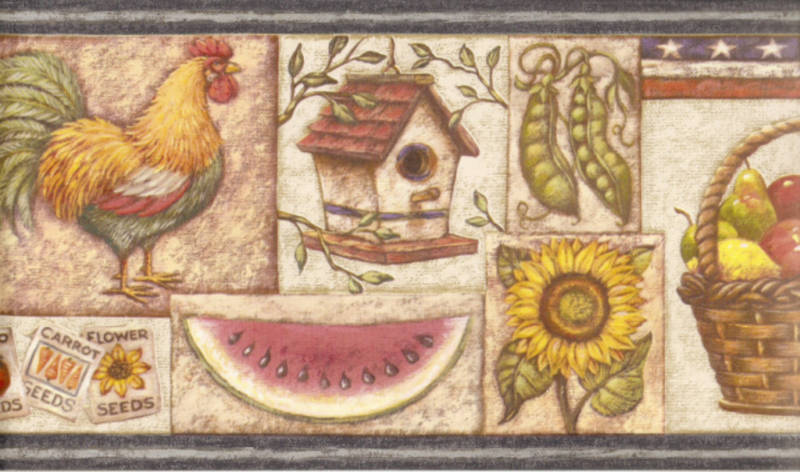 Our Great Country Patriot Country Kitchen Rooster Wallpaper Border 800x472