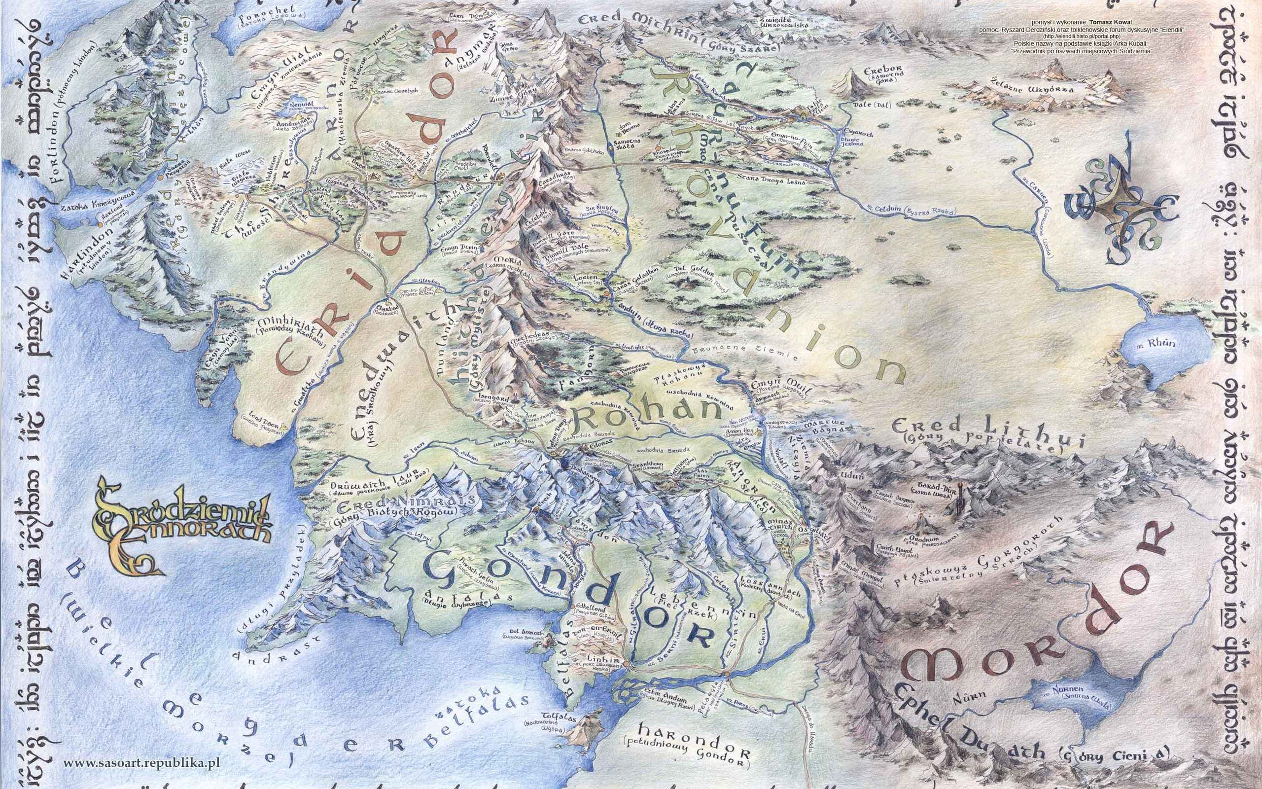Map Of Middle Earth Wallpapers 2560x1600