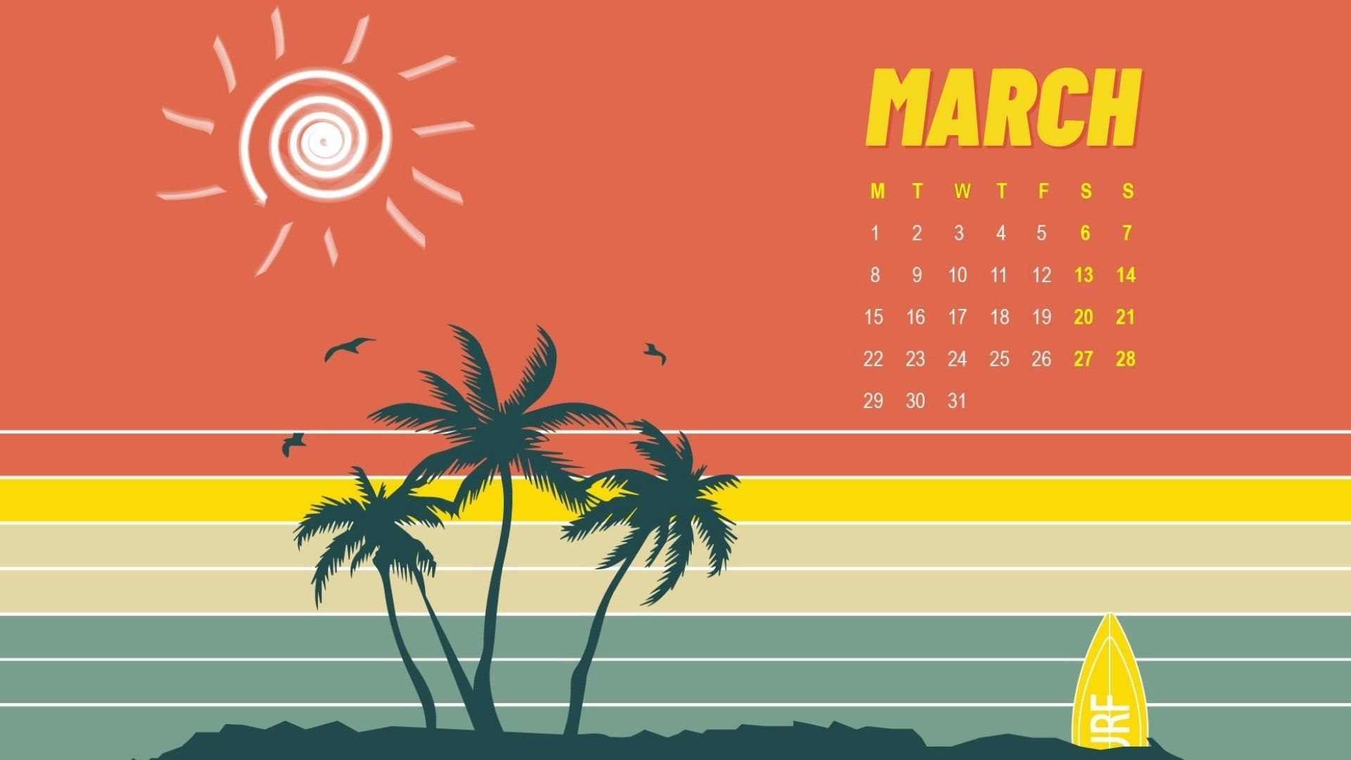 March 2021 HD calendar wallpaper download in high definition