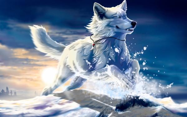 dogs fantasy art husky collar Fantasy Wallpapers Desktop 600x375