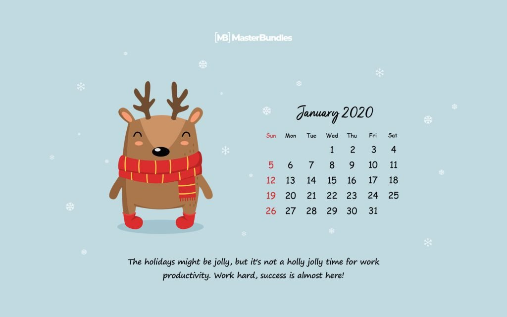January 2020 Printable Calendar Wallpapers   New Year New 1024x640