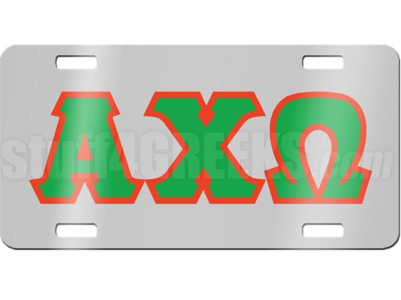 chi omega letter license plate description chrome mirrored alpha chi 800x600