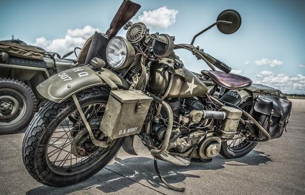 Wallpaper WLA military motorcycle Harley Davidson 1945 596x380