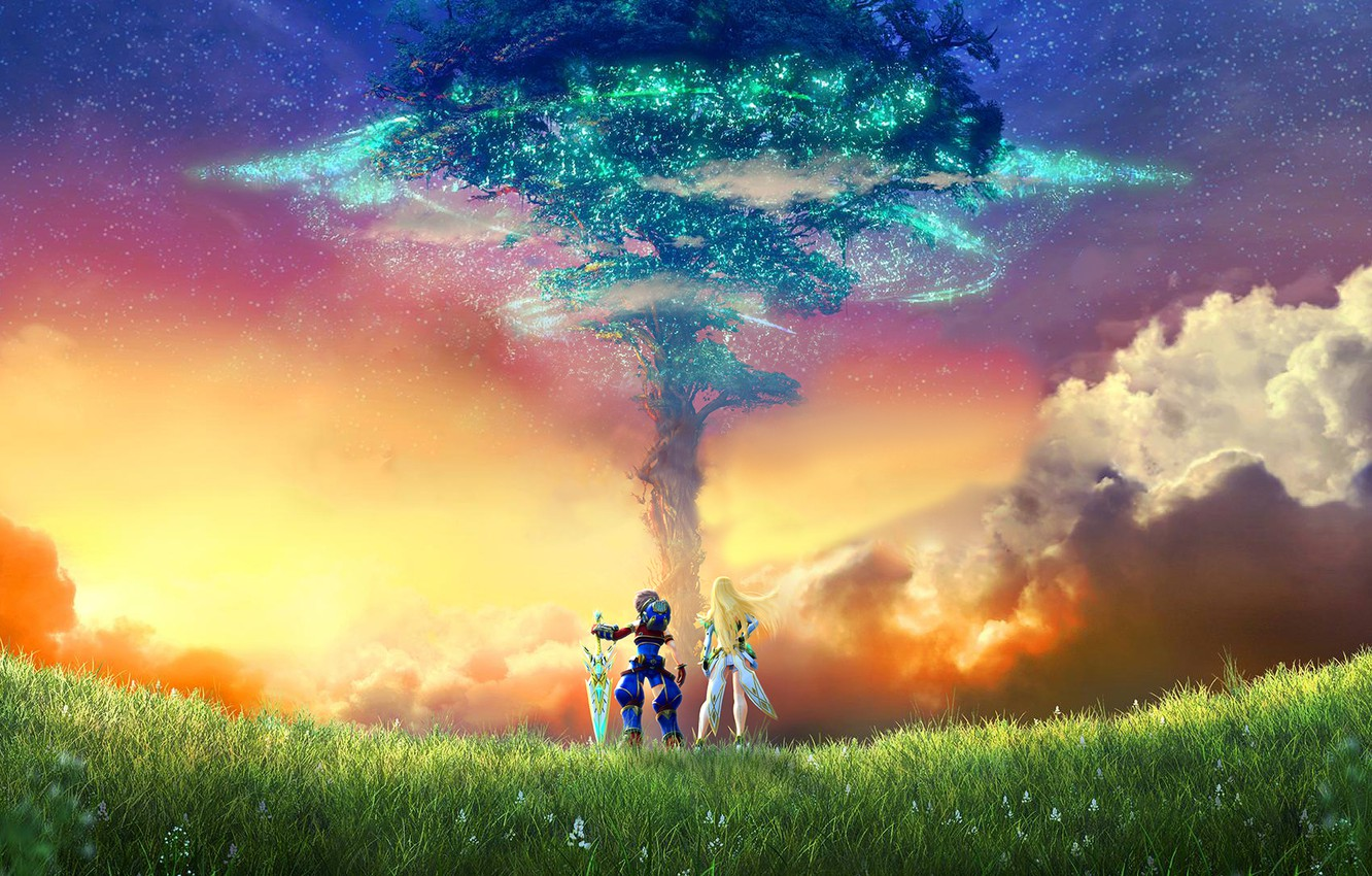 Wallpaper sunset tree two Xenoblade Chronicles 2 images for 1332x850