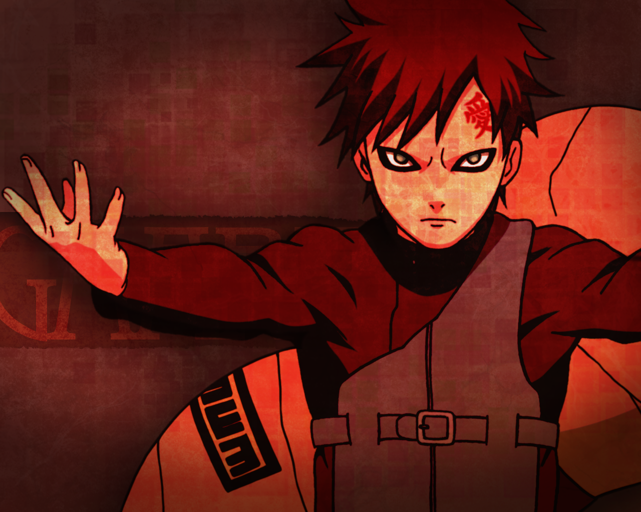 Gaara makes an ebil pose on this Naruto anime wallpaper 1280x1024