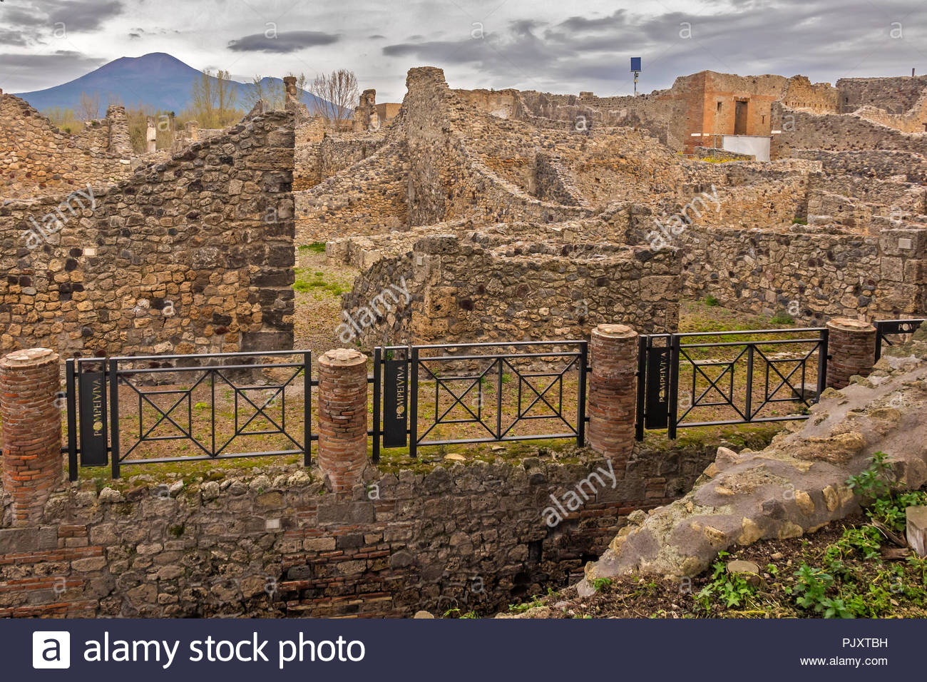 The Ruins Of Pompeii With Vesuvius In The Background Italy Stock 1300x956