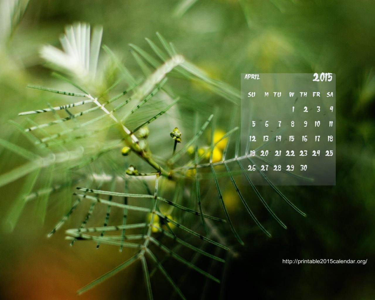 April Wallpaper Calendar 1280x1024