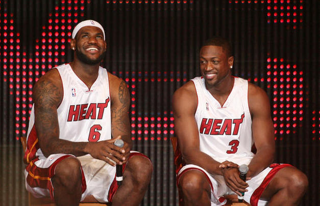 BARE CHESTED BUDDIES LebronJames DwyaneWade show off CHISELED 627x405
