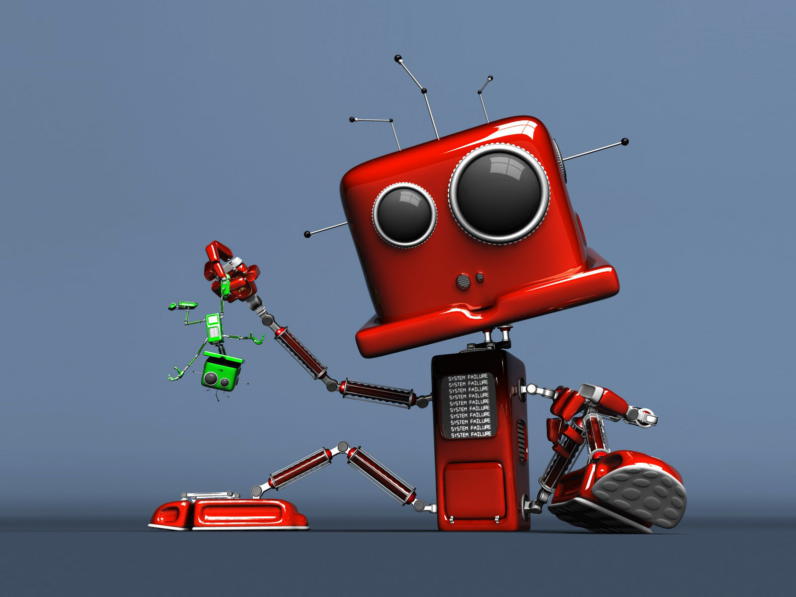 Cute Red Robot computer desktop wallpapers pictures images 1600x1200