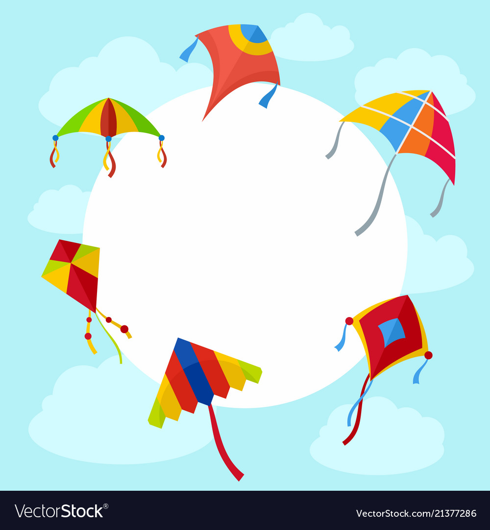 Kites in the sky background flat style Royalty Vector 1000x1080