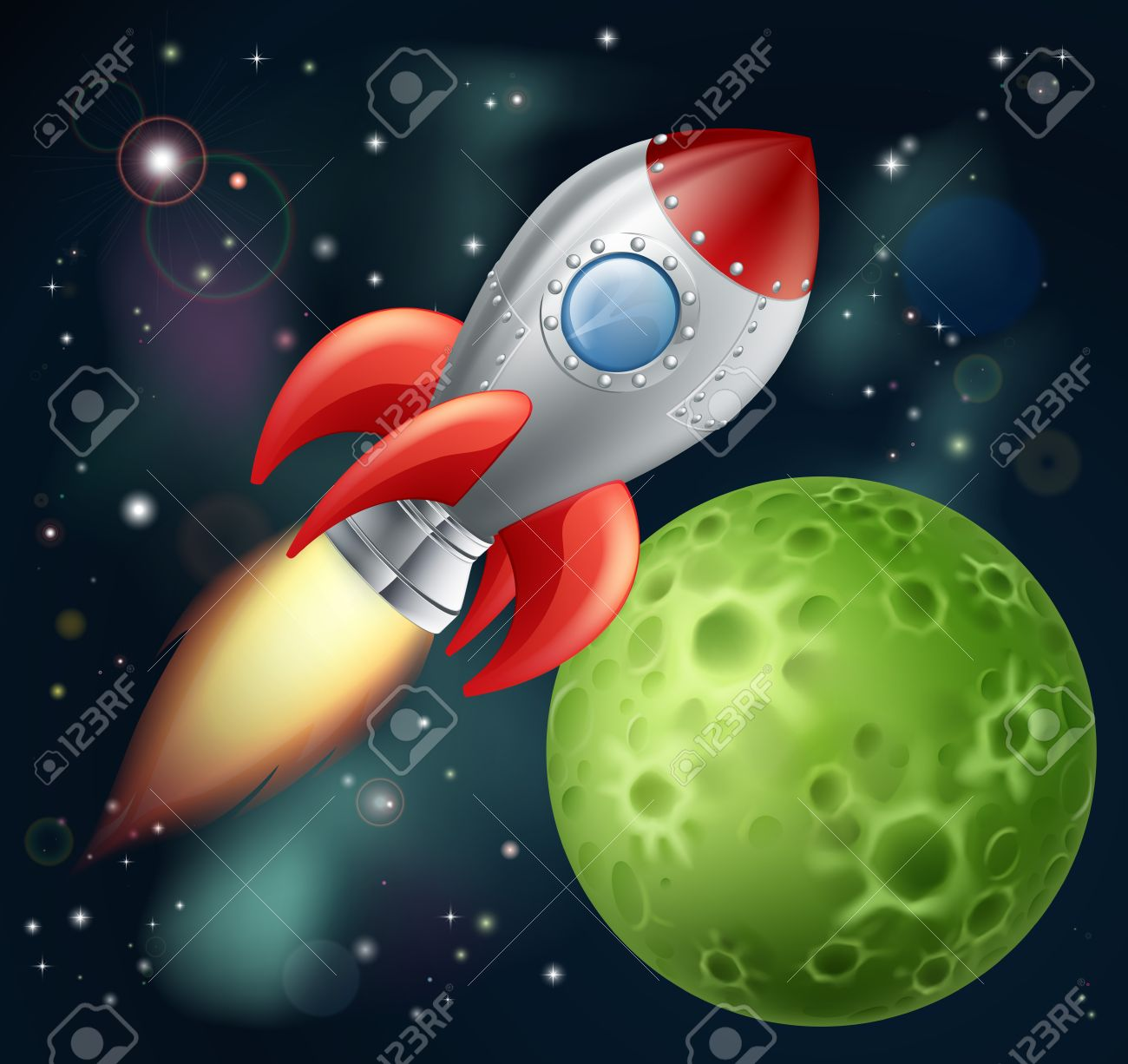 Illustration Of A Cartoon Rocket Spaceship With Space Background 1300x1226