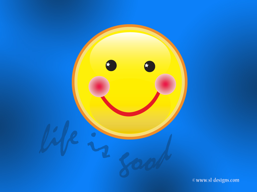 Life is good Smiley face  desktop wallpaper 1024x768