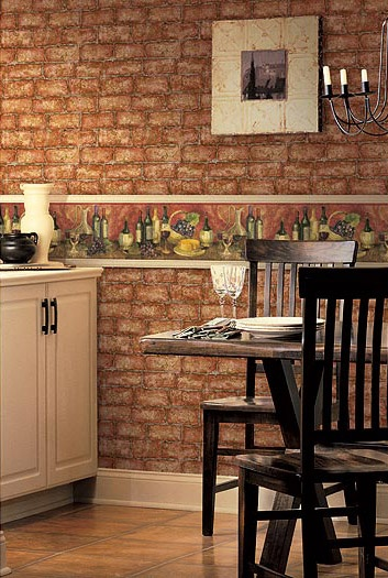 used a combination of brick wallpaper with kitchen wallpaper border 353x525